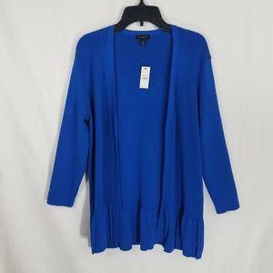 Talbots Blue Pleated Hem Open Cardigan